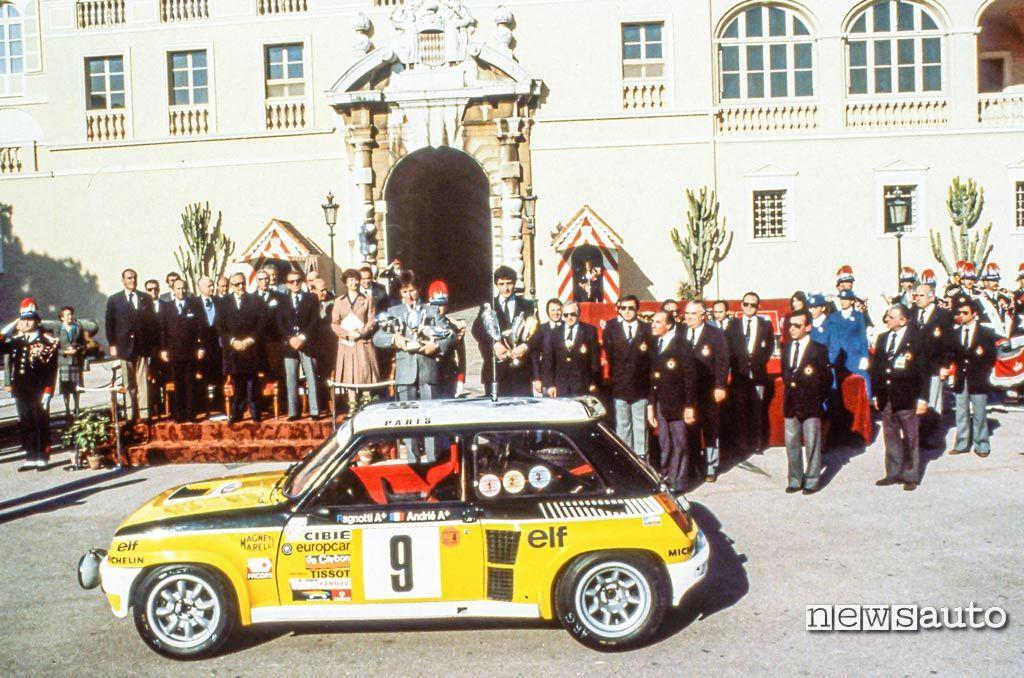 La Renault 5 Turbo di Ragnotti dopo la vittoria al Rally di Montecarlo 1981