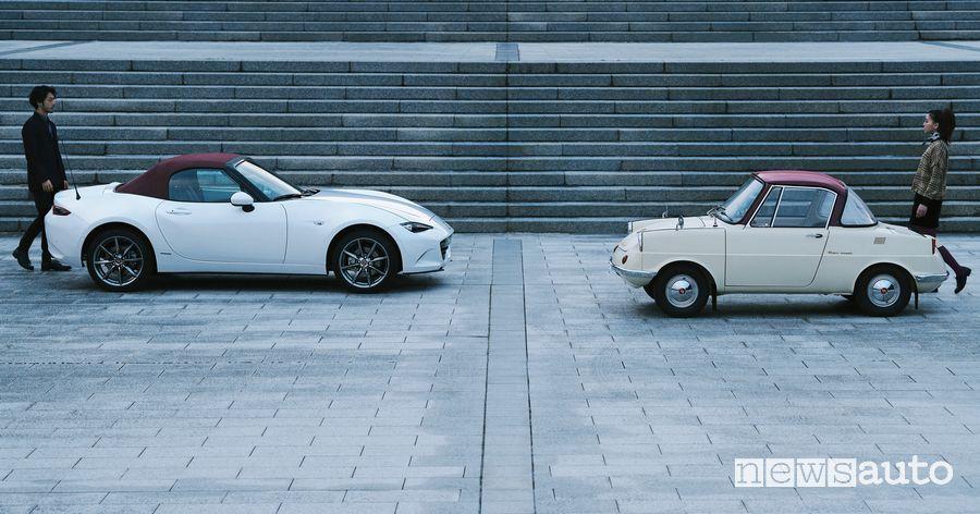 Mazda MX-5 100th Anniversary Special Edition serie speciale insieme alla R360 Coupè del 1960