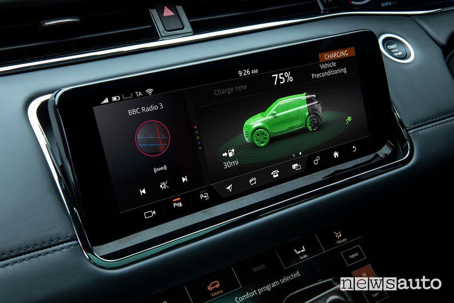 Schermata stato carica batteria Range Rover Evoque ibrido plug-in