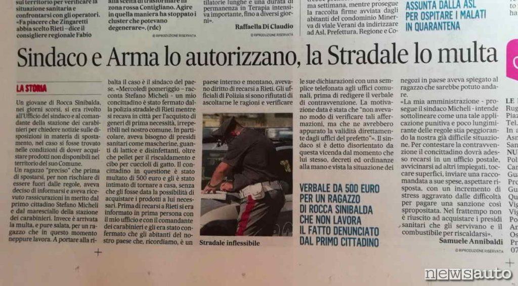 Giovane del reatino multato perché pizzicato fuori Comune (articolo giornale locale)