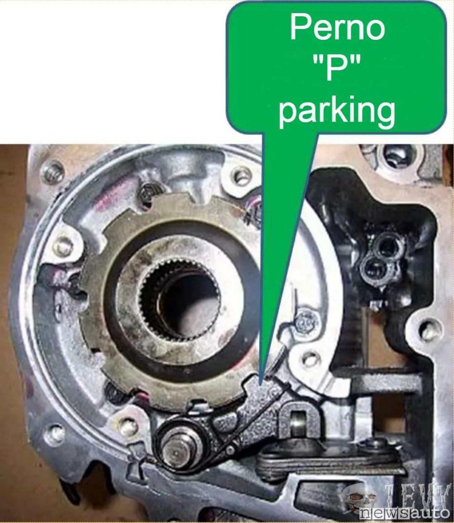 """Il perno che agisce sulla ruota dentata calettata nella trasmissione è quello che si innesta quando si passa alla posizione """"P"""" parking"""
