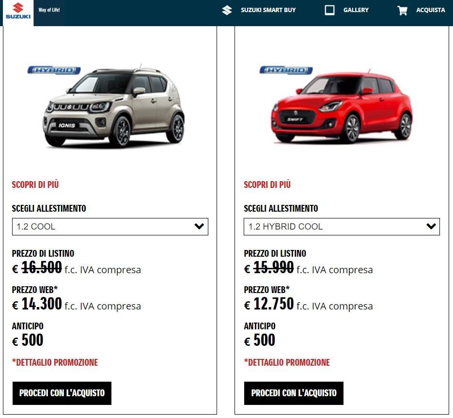 sconto web store Suzuki acquisto auto