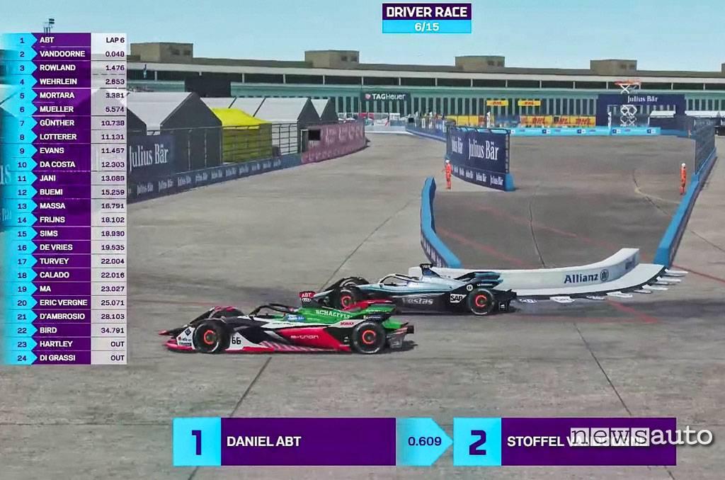 Abt prima della squalifica in lotta con Vandoorne alla Formula-E Race at home sul circuito di Berlino