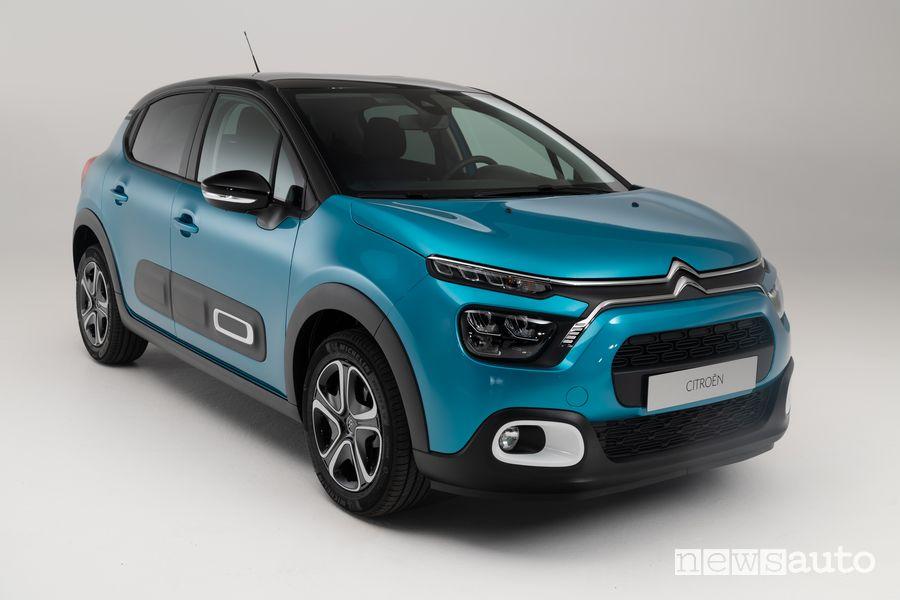 Vista di profilo Citroën C3 2020 blu
