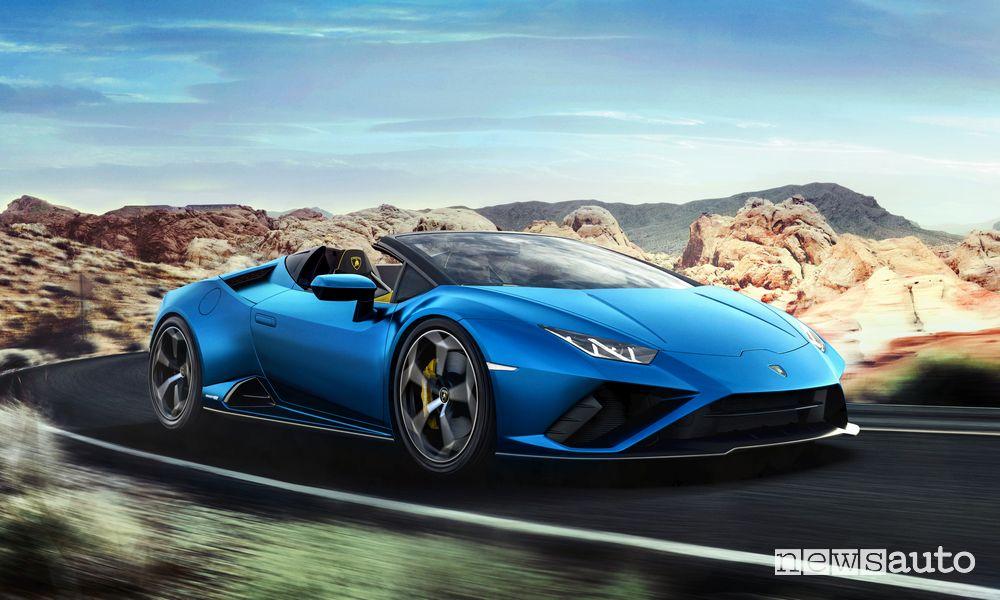 Vista di profilo Lamborghini Huracán EVO RWD Spyder
