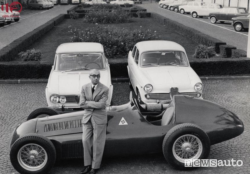 Orazio Satta Puliga, direttore della progettazione Alfa Romeo 1946 (nella foto la GP 159, Giulietta ti, Giulia)