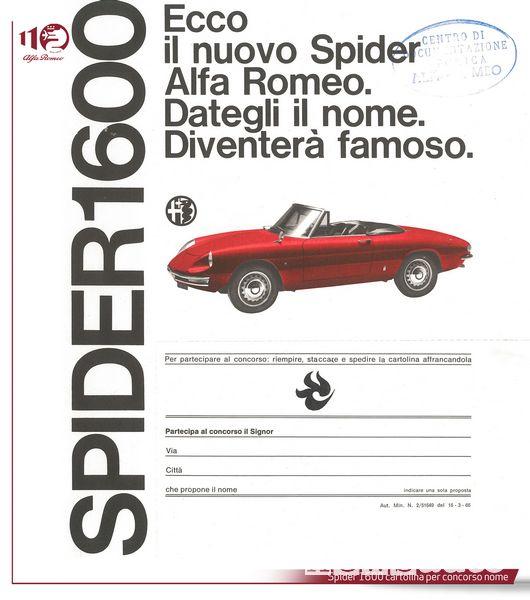 Alfa Romeo Spider 1600 cartolina per concorso nome