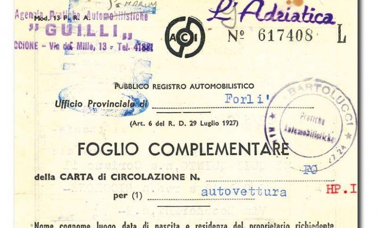 Documenti originali auto storiche