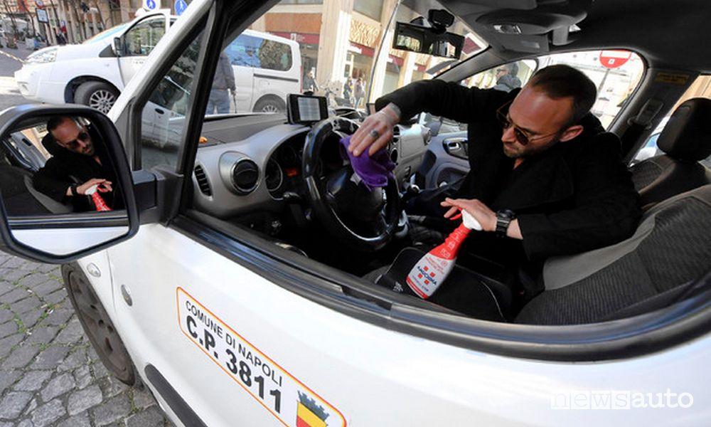 Sanificazione taxi abitacolo