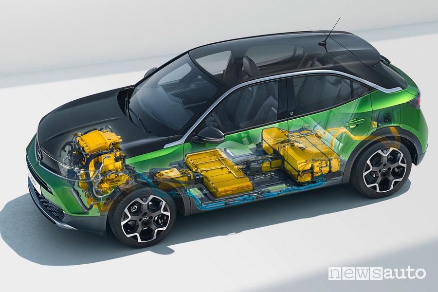 Batteria da 50 kWh e motore elettrico da 100 kW di nuovo Opel Mokka-e
