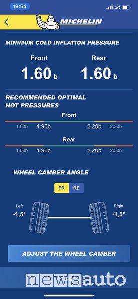 """Schermata funzione Modalità """"Motorsport"""" dell'App Michelin Track Connect temperatura e pressione pneumatici"""