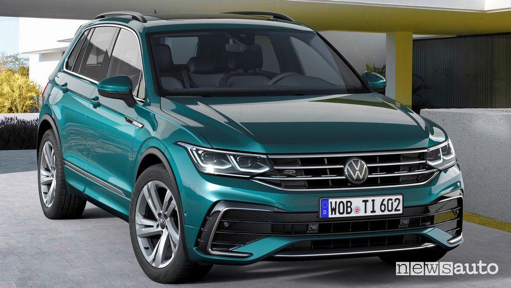 Vista anteriore Volkswagen Tiguan 2021 R Line
