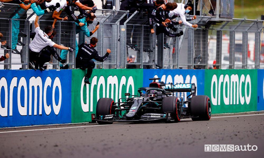 F1 Gp Ungheria 2020, vittoria Mercedes con Hamilton