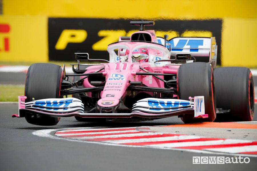Qualifiche Gp d'Ungheria Racing Point Mercedes rosa