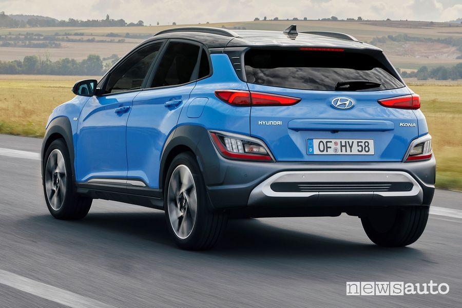 Vista posteriore nuova Hyundai Kona 2021