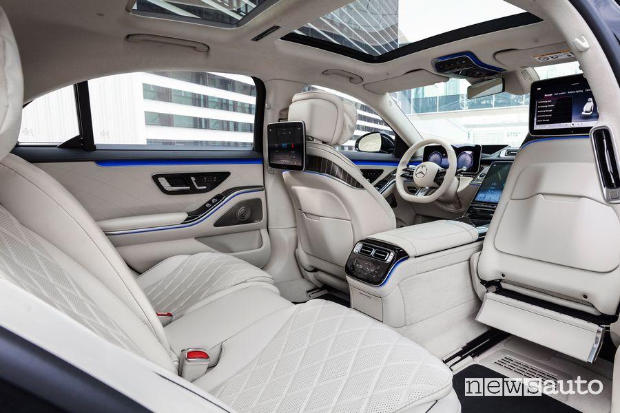 Sedili posteriori pelle nappa beige abitacolo Mercedes-Benz Classe S