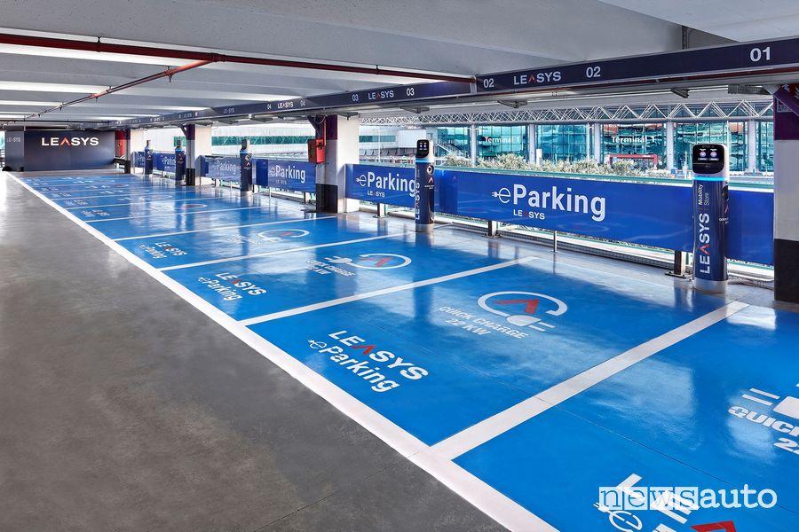 Colonnine di ricarica auto elettriche Enel X aeroporto di Fiumicino