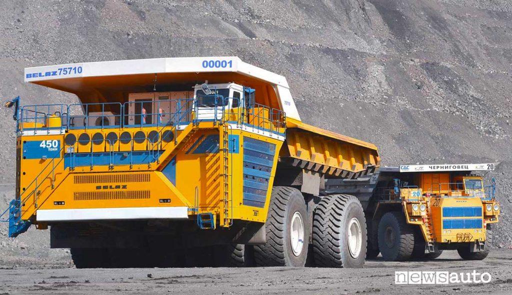 Belaz 7571 dumper autocarro con cassone ribaltabile più grande del mondo