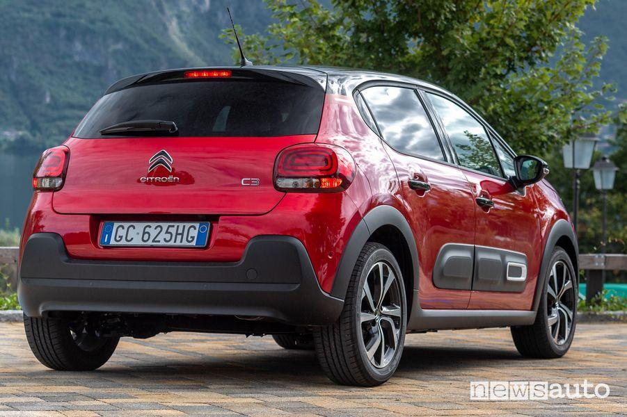 Vista posteriore nuova Citroën C3