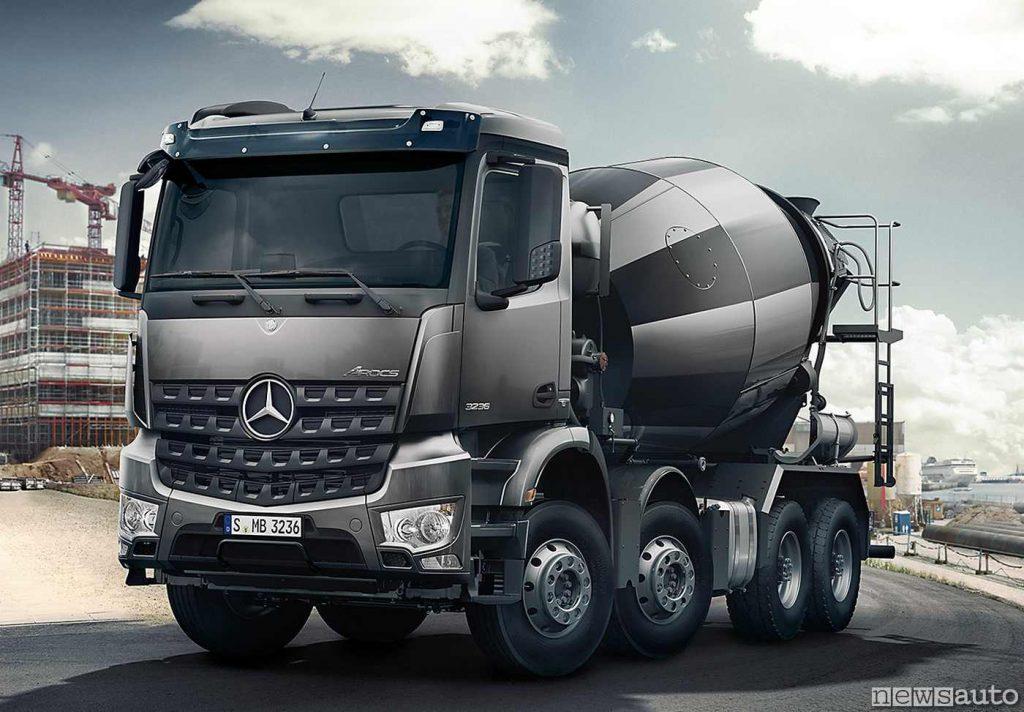 La betoniera montata su un Actros Mercedes