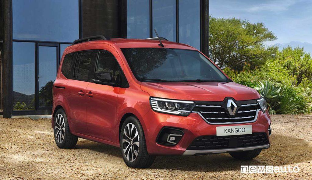 Renault Kangoo Passenger 2021 van multispazio, frontale, fari, logo renault