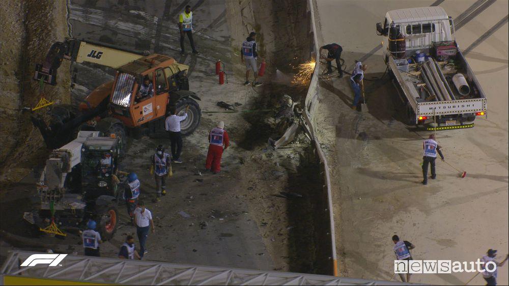 Punto dell'incidente in cui la monoposto ha urtato sulle barriere per poi prendere fuoco con l'incendio che ha avvolto il pilota