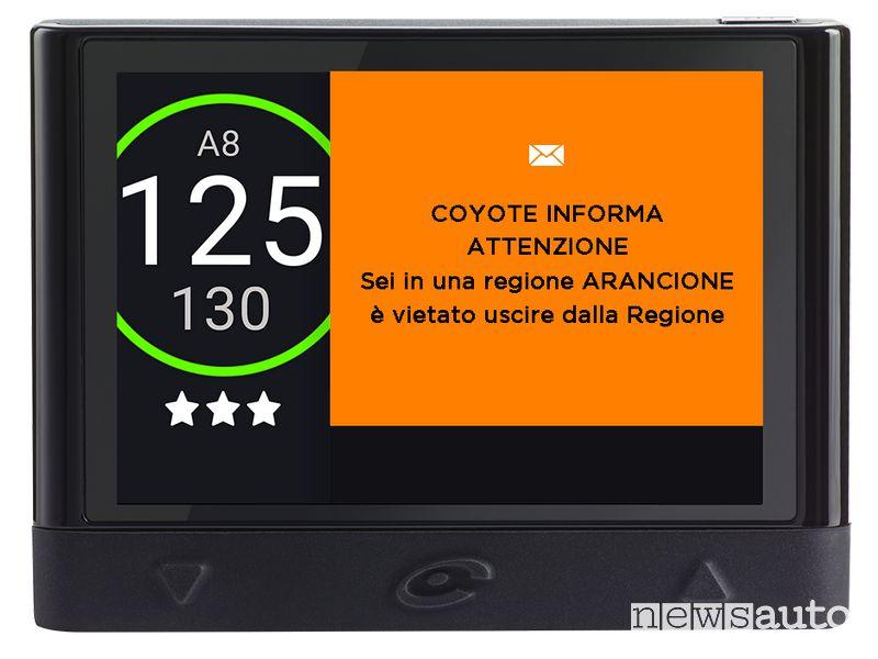 Allerta zona arancione in tempo reale sul navigatore COYOTE