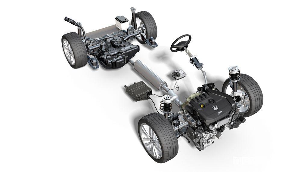 Motore benzina Volkswagen TSI Evo associato al sistema mild hybrid a 48 V
