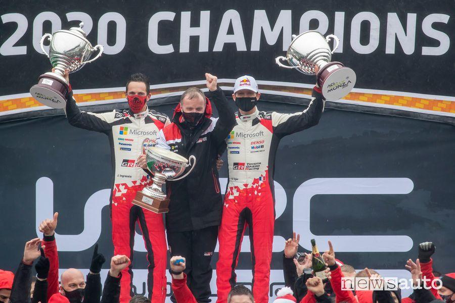 Sebastien Ogier Campione del Mondo 2020 sul podio del Rally di Monza