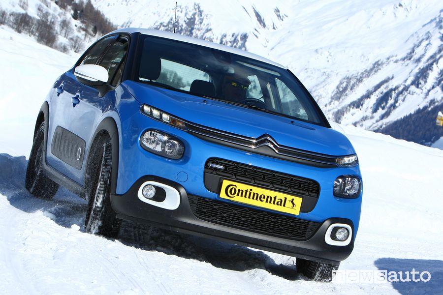 Citroën C3 1.2 benzina impiegata nel test sulla neve