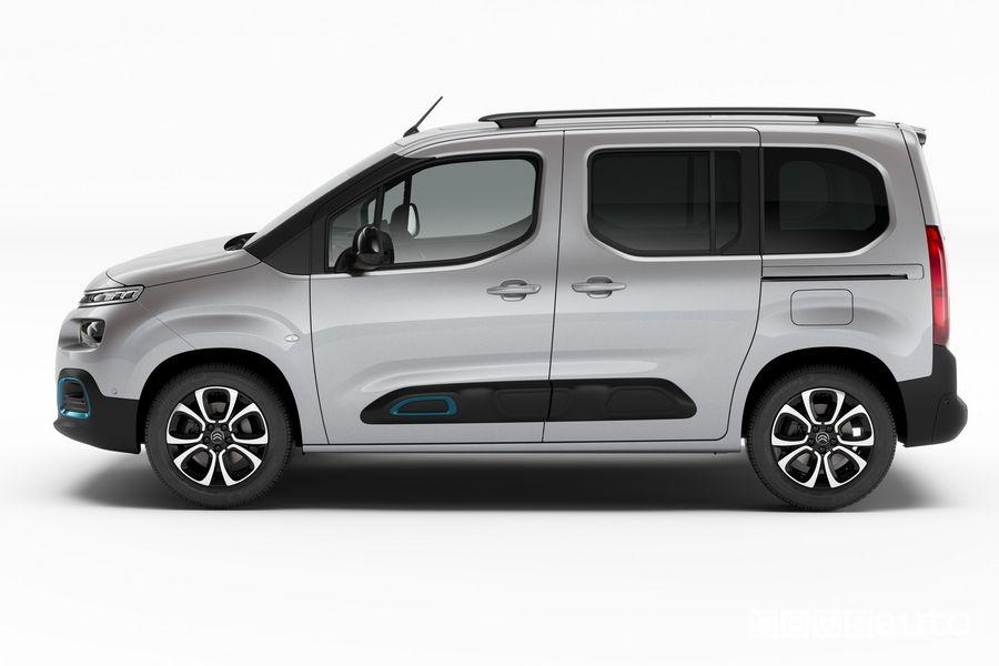 Vista laterale Citroën ë-Berlingo elettrico