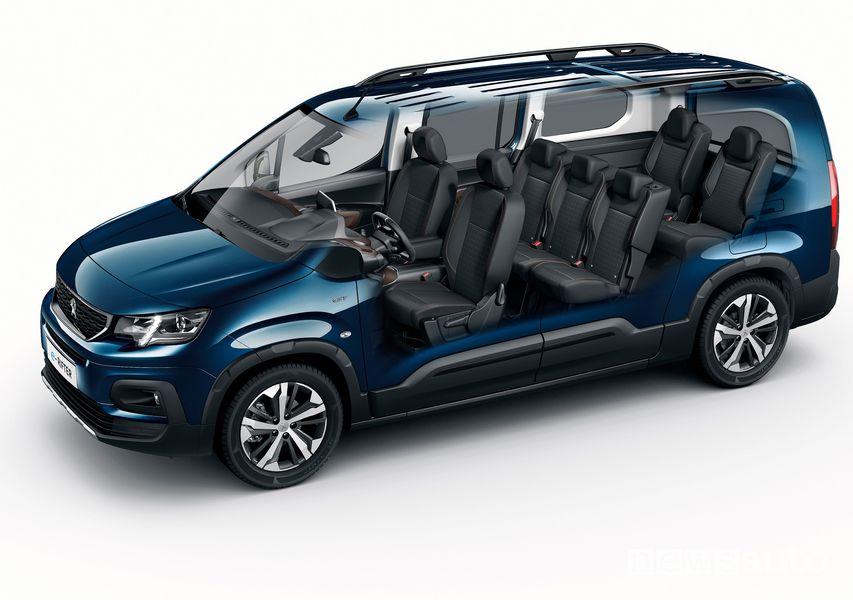 Peugeot e-Rifter elettrico lunghezza Long 7 posti