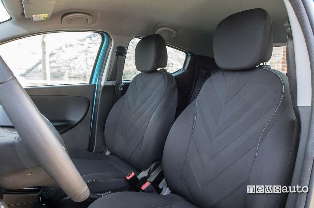 sedili anteriori in rivestimento Seaqual della Lancia Ypsilon Hybrid