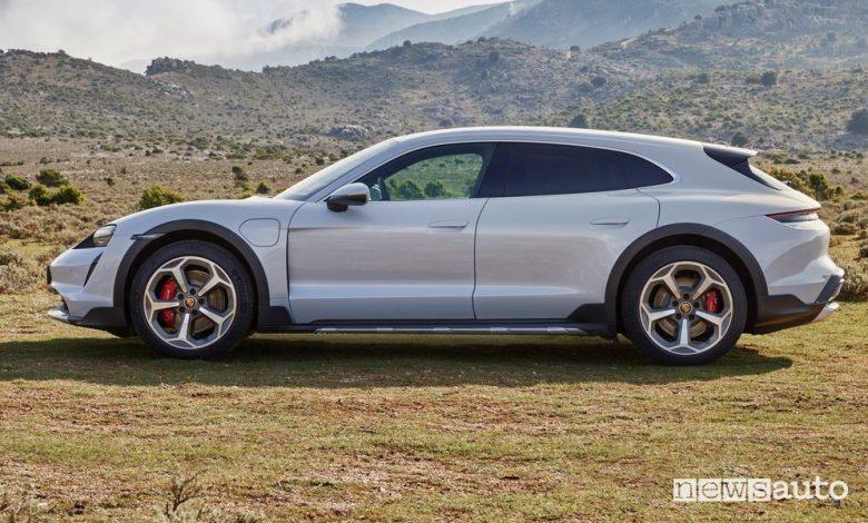 Vista laterale Porsche Taycan Cross Turismo