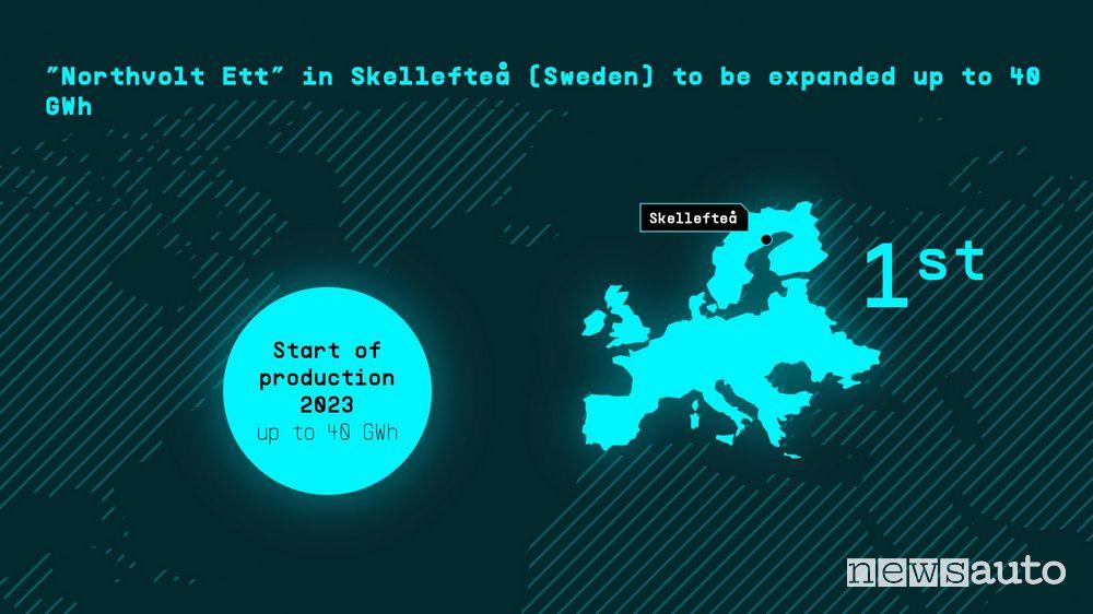 prima gigafactory Volkswagen nel 2023 in Svezia a Skellefteå, in collaborazione con Northvolt