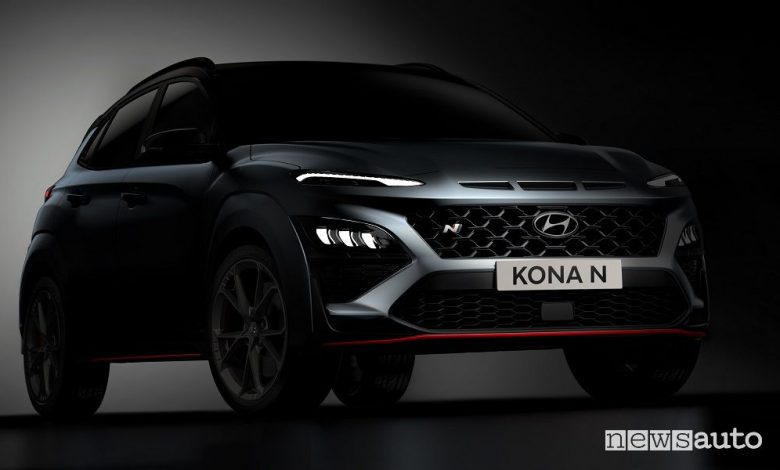 Vista di profilo nuova Hyundai Kona N