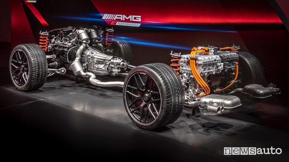 Piattaforma trazione ibrida ad alte prestazioni Mercedes-AMG E Performance