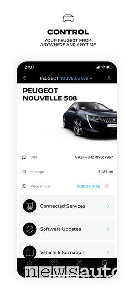 Pannello di controllo app MyPeugeot