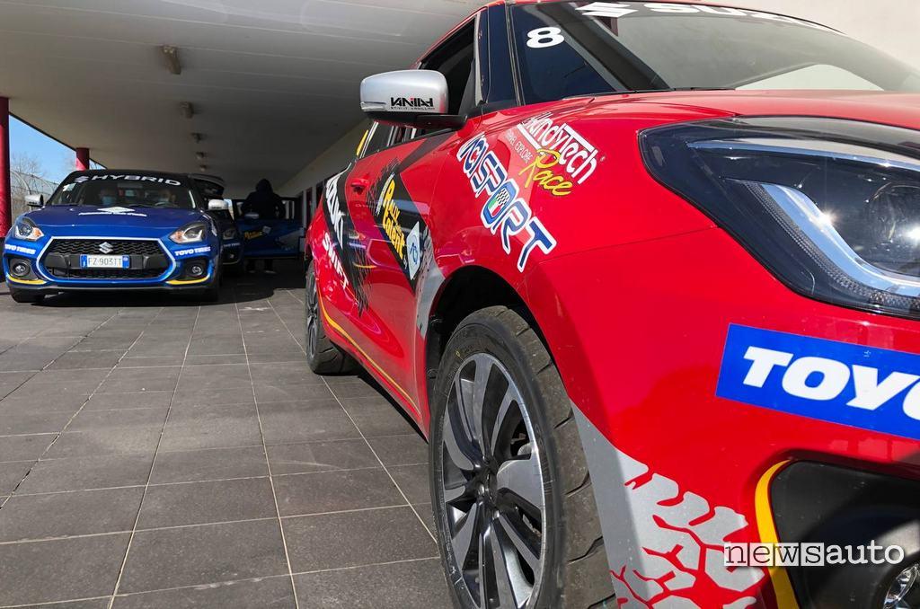 Suzuki Swift Hybrid allestita dalla Handytech presso il circuito di Viterbo al Rally Italia Talent 2021
