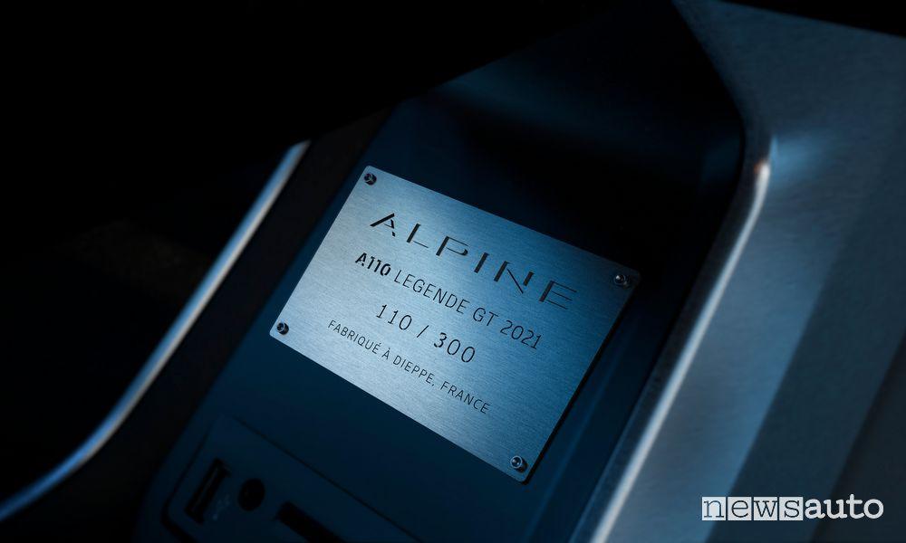 Targhetta seri limitata Alpine A110 Légende GT 2021