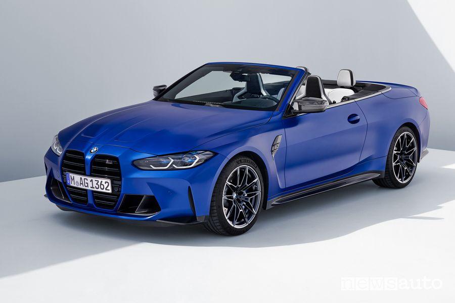 Vista di profilo BMW M4 Competition Cabrio