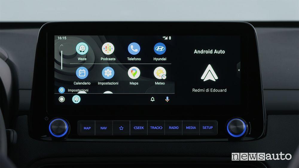 "Android Auto su display da 10,25"" abitacolo Hyundai Kona Electric"