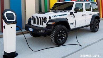 Jeep Wrangler 4xe Rubicon in ricarica da colonnina pubblica