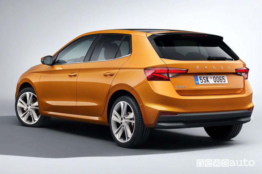 Vista posteriore nuova Škoda Fabia