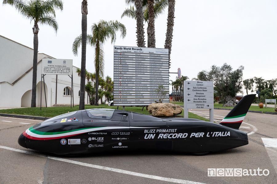 Blizz Primatist monoposto elettrica record di velocità sulla pista di Nardò