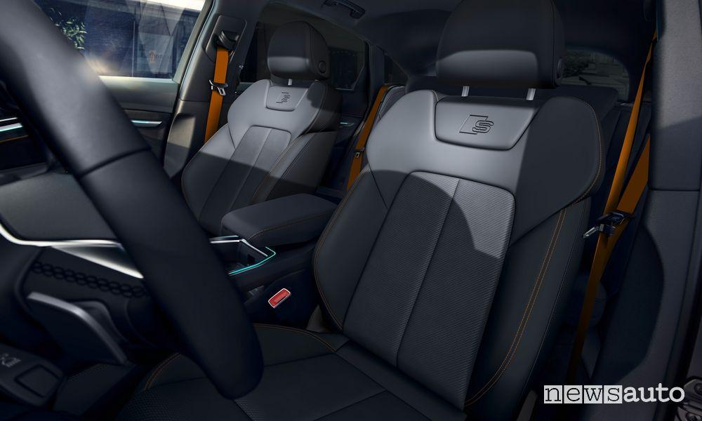Sedili anteriori abitacolo Audi e-tron Sportback S line black edition