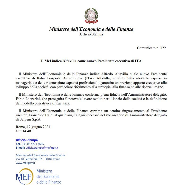 comunicato ufficiale del MEF Ministero dell'Economia e delle Finanze sulla nomina di Altavilla a capo di ITA la nuova Alitalia