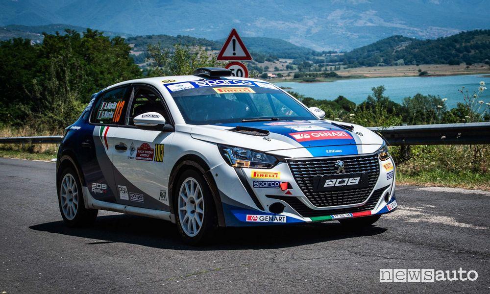Andrea Nucita con la Peugeot 208 Rally4 al Rally di Roma 2021