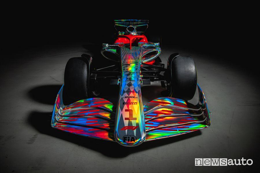 Vista anteriore della nuova monoposto F1 2022