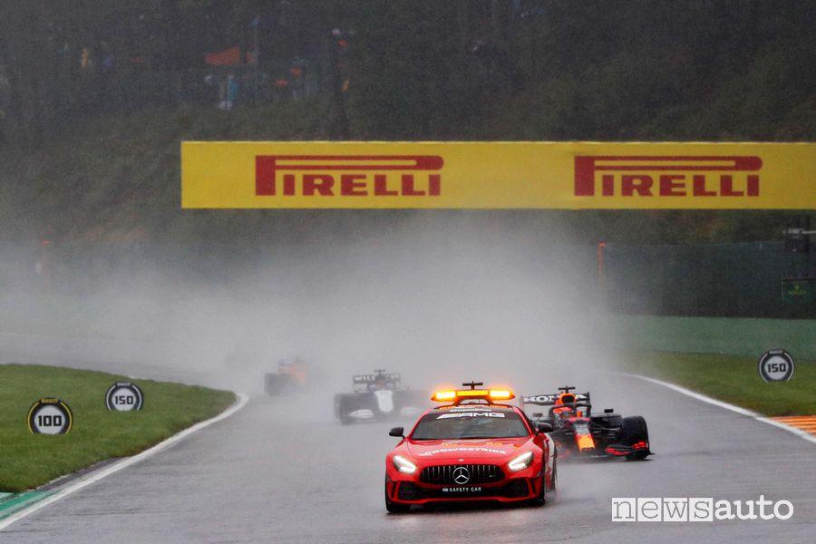 F1 Gp Belgio 2021, gara pioggia safety car